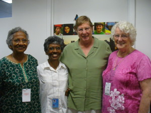 Lucy is with Srs Terry, Joan and Fatima  in  the UN office.