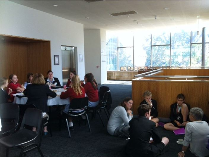 Star of the Sea College, PCW Melbourne and CBC St Kilda students planning their actions for justice.