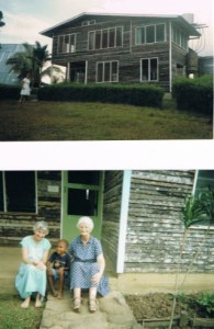 Top: the old Sisters House in Ningil (which burnt down). Bottom: Sr Breda sitting outside with Sr Maria Mooney and Kingsley